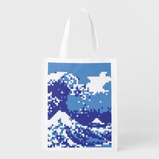 Pixel Tsunami Blue 8 Bit Pixel Art Reusable Grocery Bag