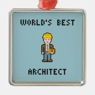 Pixel World's Best Architect Metal Ornament