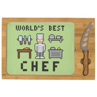 Pixel World's Best Chef Round Cheese Board