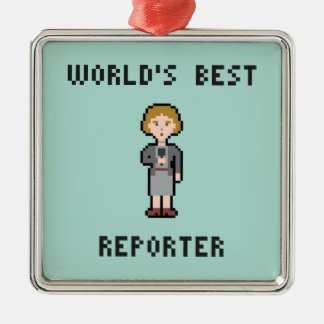 Pixel World's Best Female Reporter Metal Ornament