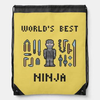 Pixel World's Best Ninja Drawstring Backpack