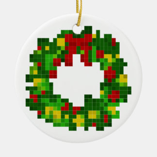 Pixel Wreath Ceramic Ornament