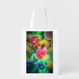 Pixelated Fruits on Reusable Bag Reusable Grocery Bag