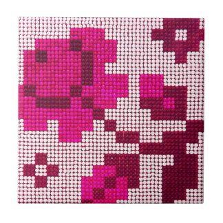 Pixelated, Pink and Red Ceramic Tile