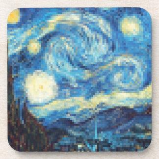 Pixelated Starry Night by Van Gogh Drink Coaster
