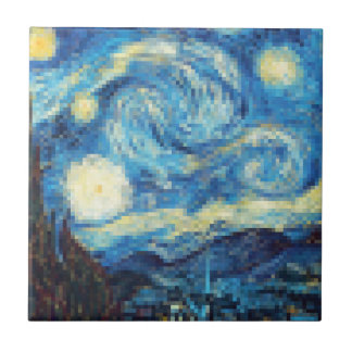 Pixelated Starry Night by Van Gogh Tile