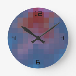 Pixelated with Numbers Round Clock