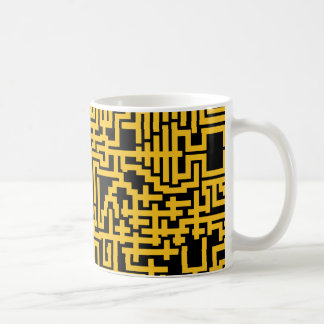 PixelMixel Maze Pattern Mug - Black and Gold