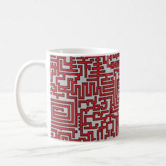 PixelMixel Maze Pattern Mug - Red and Grey