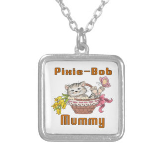 Pixie-Bob Cat Mom Silver Plated Necklace