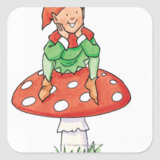Pixie on Toadstool Square Sticker