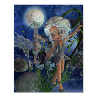 Pixie Power Silver Moon Poster