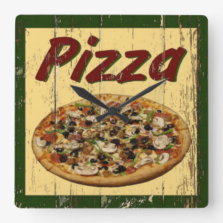 Pizza 1 square wall clock