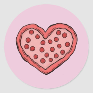 Pizza adhesive with Fund color of Rosa Round Sticker