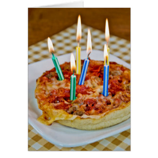 Pizza and Birthday Candles Card