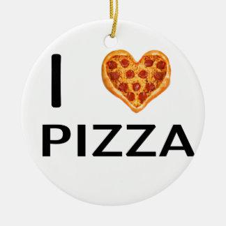 Pizza and love round ceramic ornament