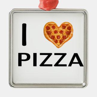 Pizza and love Silver-Colored square ornament