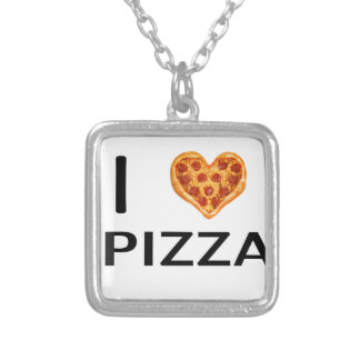 Pizza and love silver plated necklace