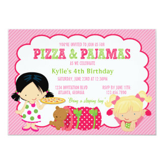 "Pizza and Pajamas Sleepover Party 5"" X 7"" Invitation Card"