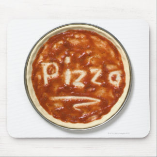 Pizza base with tomato sauce and the word mouse pad