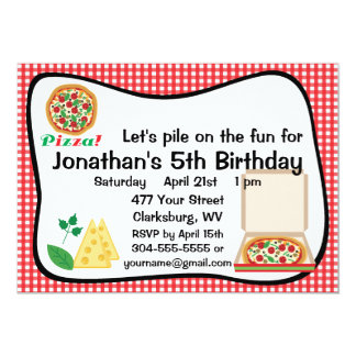 Pizza Birthday Party Card