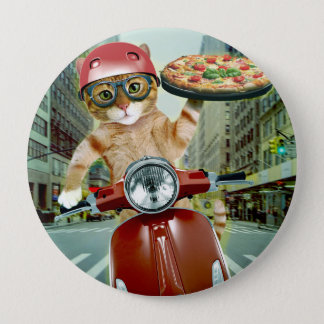 pizza cat - cat - pizza delivery 4 inch round button