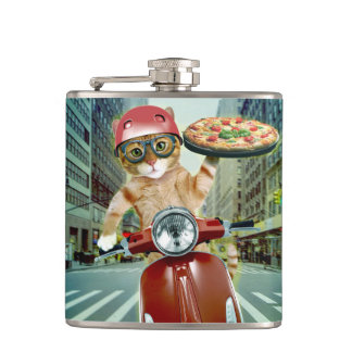 pizza cat - cat - pizza delivery hip flask