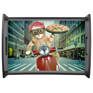 pizza cat - cat - pizza delivery serving tray