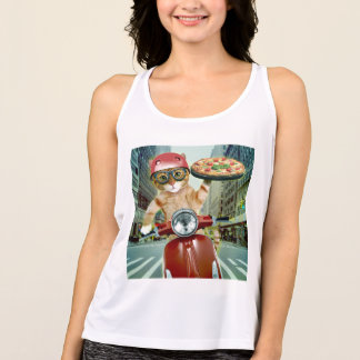 pizza cat - cat - pizza delivery tank top