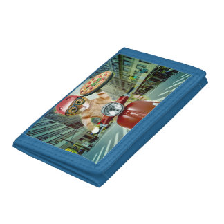 pizza cat - cat - pizza delivery tri-fold wallets