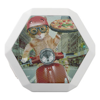 pizza cat - cat - pizza delivery white bluetooth speaker