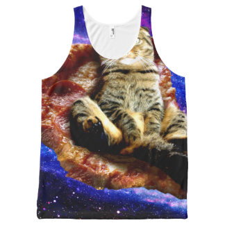pizza cat - crazy cat - cats in space All-Over-Print tank top