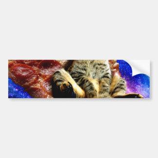 pizza cat - crazy cat - cats in space bumper sticker