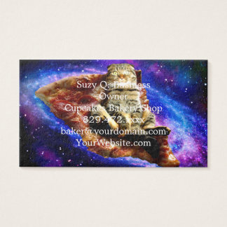 pizza cat - crazy cat - cats in space business card