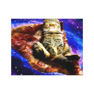 pizza cat - crazy cat - cats in space canvas print
