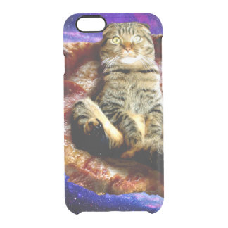 pizza cat - crazy cat - cats in space clear iPhone 6/6S case