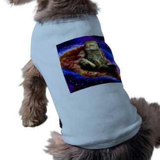 pizza cat - crazy cat - cats in space dog t-shirt