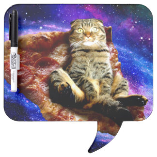 pizza cat - crazy cat - cats in space dry erase board