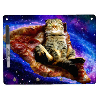 pizza cat - crazy cat - cats in space dry erase board with keychain holder