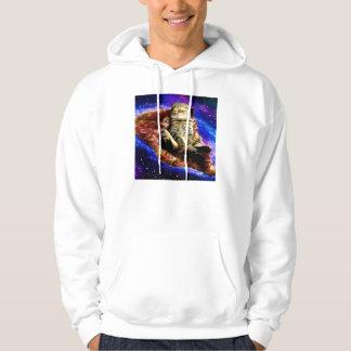 pizza cat - crazy cat - cats in space hoodie