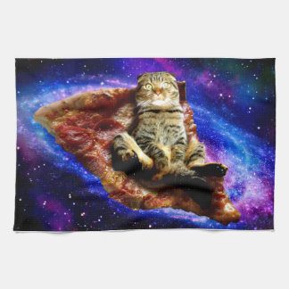 pizza cat - crazy cat - cats in space kitchen towel