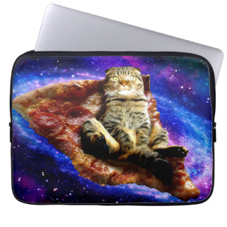 pizza cat - crazy cat - cats in space laptop sleeves
