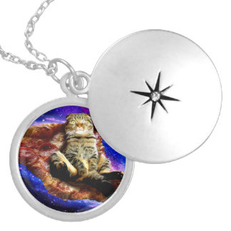 pizza cat - crazy cat - cats in space locket necklace