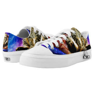 pizza cat - crazy cat - cats in space Low-Top sneakers