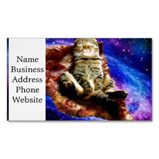 pizza cat - crazy cat - cats in space 	Magnetic business card