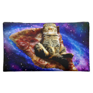 pizza cat - crazy cat - cats in space makeup bag