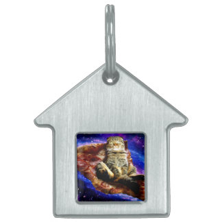pizza cat - crazy cat - cats in space pet ID tag
