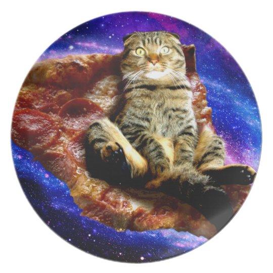 pizza cat - crazy cat - cats in space plate