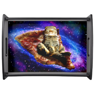 pizza cat - crazy cat - cats in space serving tray