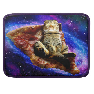 pizza cat - crazy cat - cats in space sleeve for MacBooks